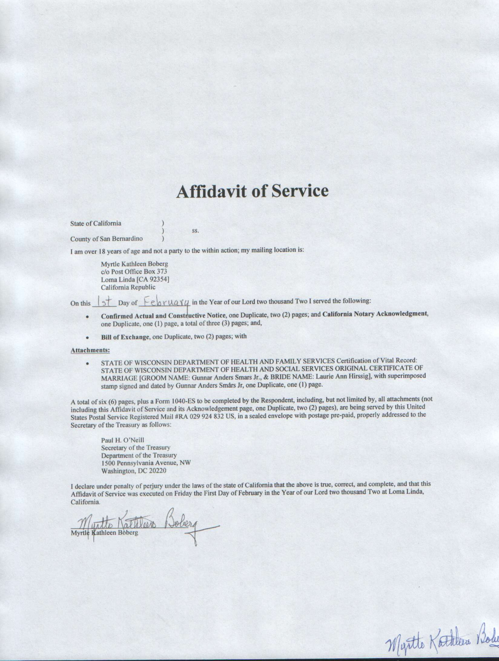 ... Affidavit Of Service ...  Name Affidavit Form