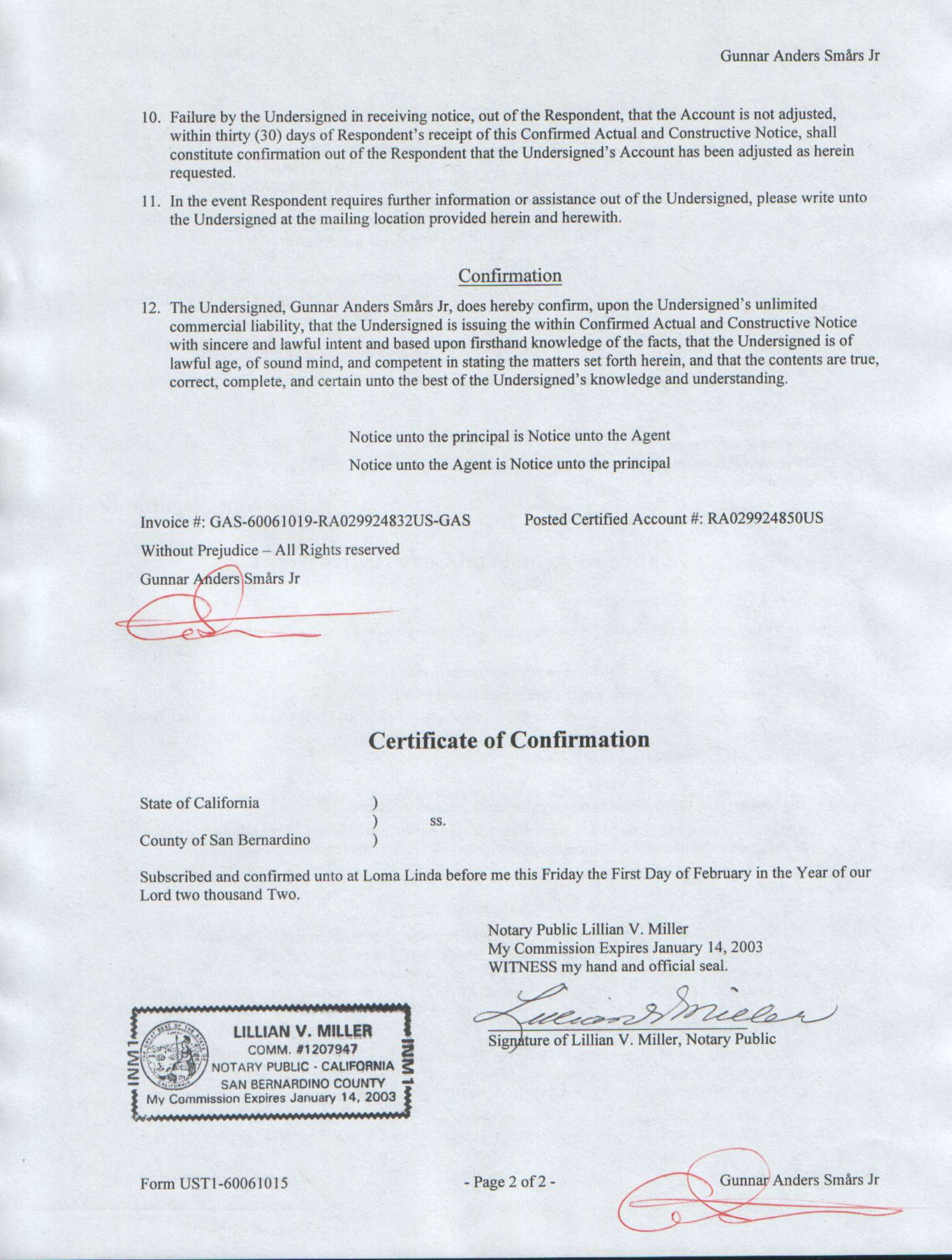 Affidavit Of Service Form With Links To Copies Of Actual